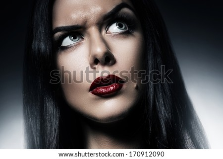 woman with red lips and funny expression