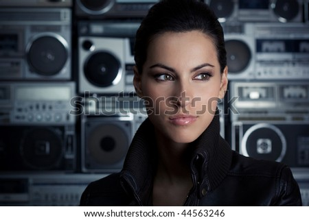 Woman with retro Boom Box - stock photo