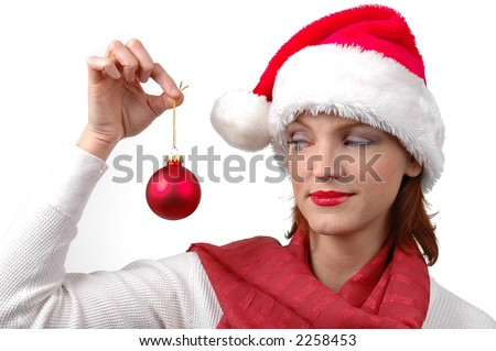 Woman with Santa's hat with christmas ornament with white background