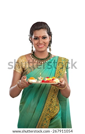Woman with Sari and Offerings