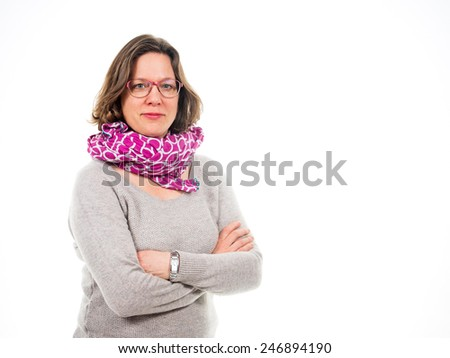 Woman with scarf and arms crossed isolated - stock photo