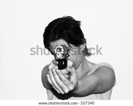 woman with semi-automatic pistol