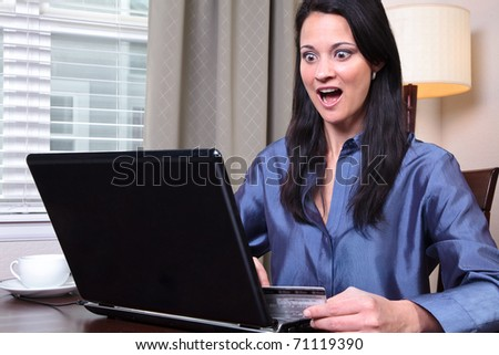 Woman with shocked expression - stock photo