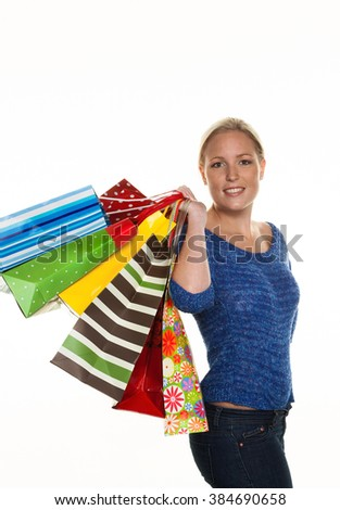 woman with shopping bags while shopping - stock photo