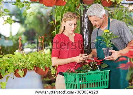 Woman with shopping basket buying flowers (tagetes) in a nursery shop - stock photo