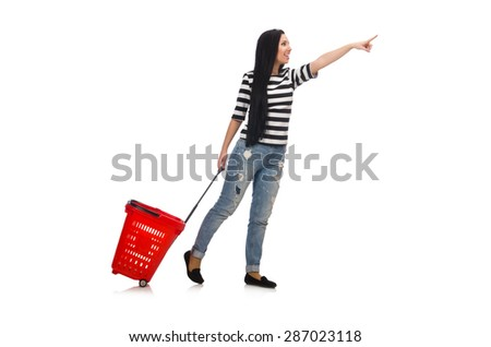 Woman with shopping cart isolated on white - stock photo
