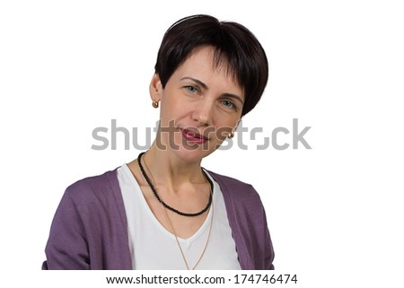 Woman with short hair - isolated photo portrait