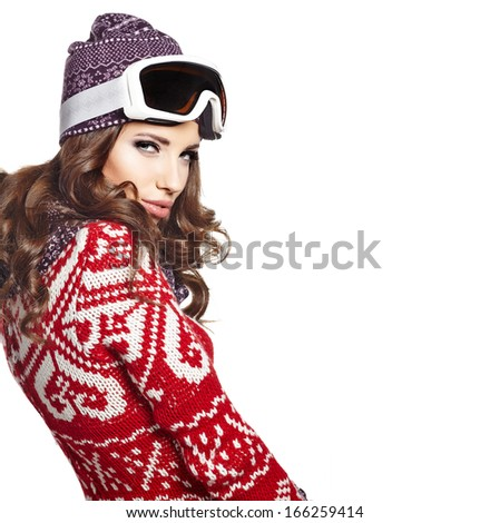 Woman with ski goggles isolated on white - stock photo