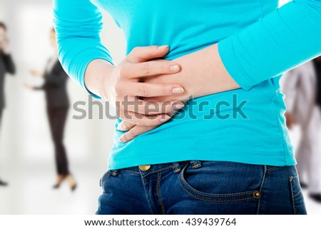 Woman with stomach issues - stock photo
