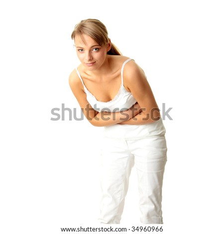 Woman with stomach issues isolated on white background - stock photo