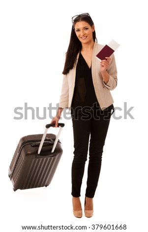 Woman with suitcase and travel documents going on a business trip.