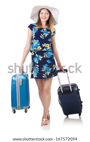 Woman with suitcases isolated on white - stock photo