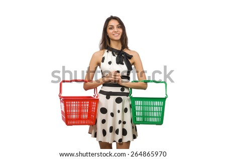 Woman with supermarkey basket isolated on white