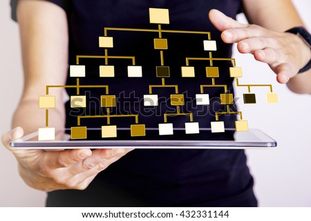 Woman with tablet PC displays hierarchical structure