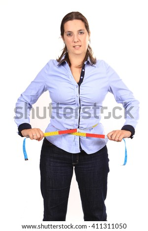 woman with tape measure - stock photo