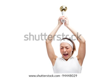 Woman with tennis racquet. Isolated over white. - stock photo