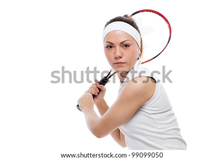 Woman with tennis racquet. Isolated over white.