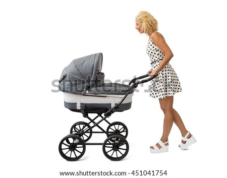 Woman with  the baby carriage