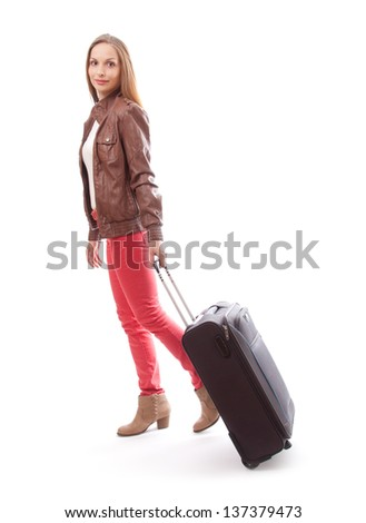 woman with the travel bag, isolated on white background