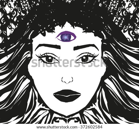 Woman with third eye, psychic supernatural senses  - stock photo