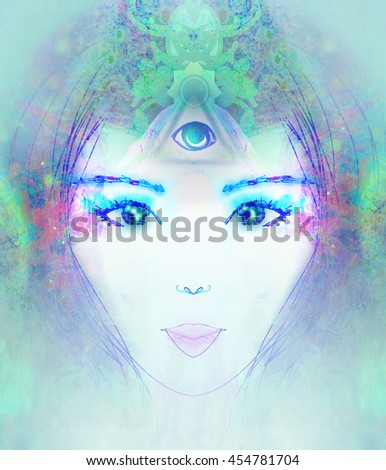 Woman with third eye, psychic supernatural senses  - stock photo