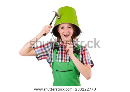 Woman with toolkit isolated on white - stock photo