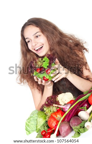 Woman with vegetables isolated on white healthy eating concept - stock photo