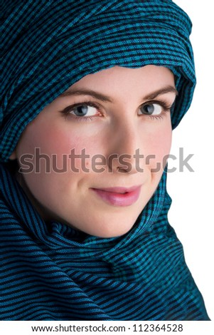 Woman with veil isolated on white background