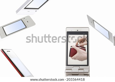 Woman With Wallet Reflected In Mobile Screen