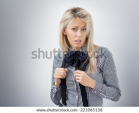 Woman with weird expression - stock photo