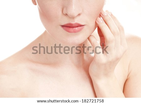 Woman with well-groomed skin  - isolated on white background. Skin care concept. - stock photo