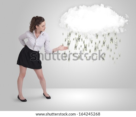 Woman with white cloud and money rain concept - stock photo