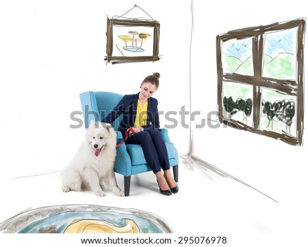 Woman with white dog in living room - stock photo