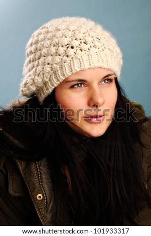 woman with white hat ready for winter