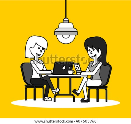 Woman work with laptop and smartphone. Woman and work, business woman work with smartphone, work with laptop, business phone, work technology mobile, working businesswoman with device illustration - stock photo