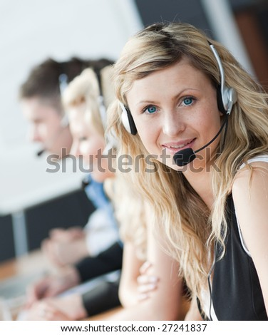 woman working in an office - stock photo