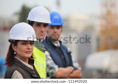 woman working in male preserve - stock photo