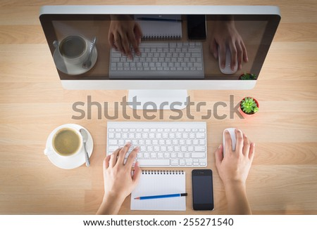 woman working of a computer - stock photo