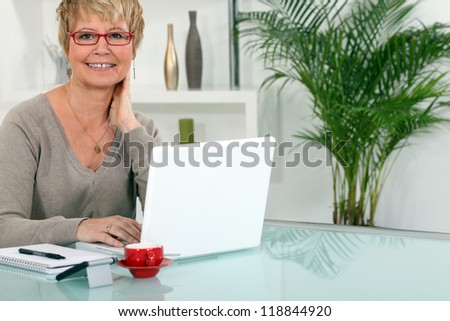 Woman working on her laptop at home - stock photo