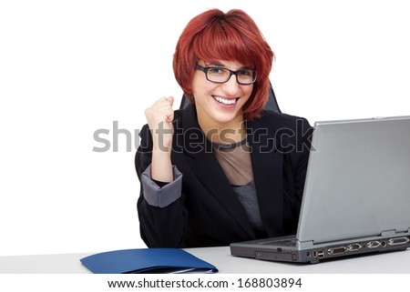 Woman working on laptop - stock photo