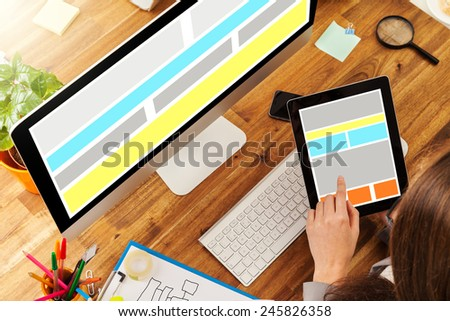 Woman working on pc. Concept of web design. Shot from above view - stock photo