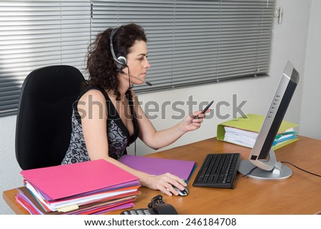 Woman working on the phone