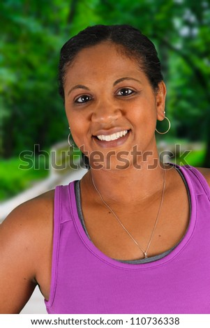 Woman working out at a jogging track