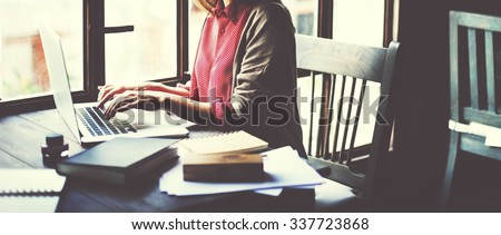 Woman Working Typing Laptop Connection Concept - stock photo