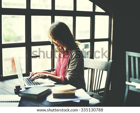 Woman Working typing Workspace Lifestyle Concept