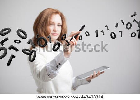 Woman working with binary code, concept of digital technology. - stock photo