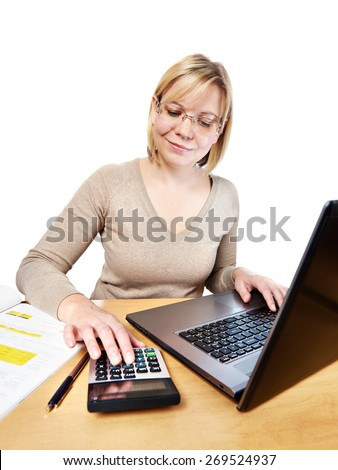Woman working with laptop computer in office isolated