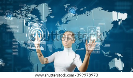 Woman working with virtual interface