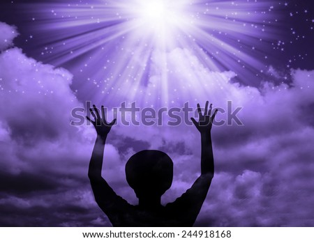 Woman worship and praise - stock photo