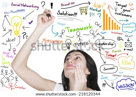 Woman writes business plan as brainstorm on white board - stock photo